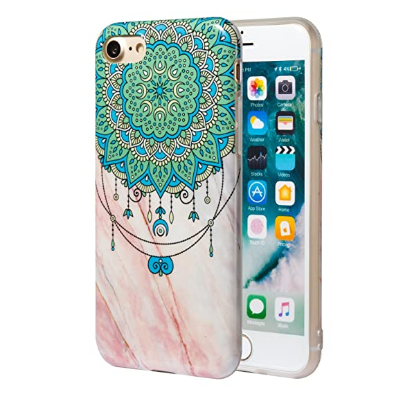 detailed look 8d7cf a5d26 iPhone 7 Case, iPhone 8 Case, CMEKA Shiny Mandala Flower Marble Design Slim  Fit Clear Bumper TPU Soft Rubber Silicone Cover Phone Case Skin for Apple  ...