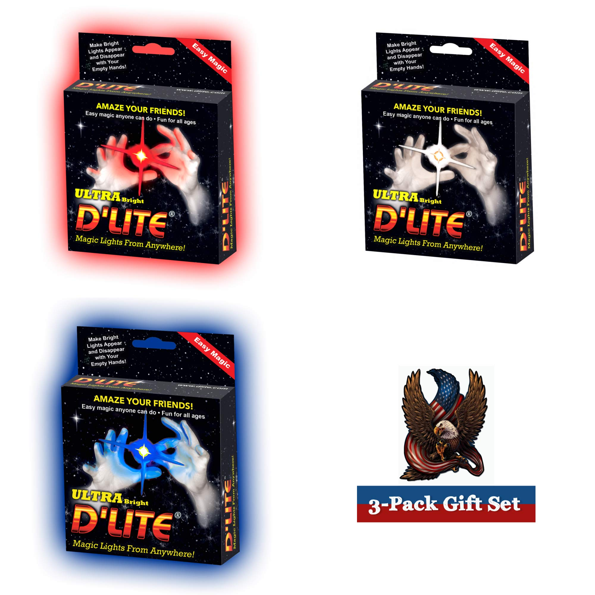 D'lite 4th of July Regular - Set of 3 Red - White - Blue Lightup Magic Thumbs - Original Ultra Bright Light - Closeup Stage Tricks - Easy - Free Training Video See Box (4thRG)