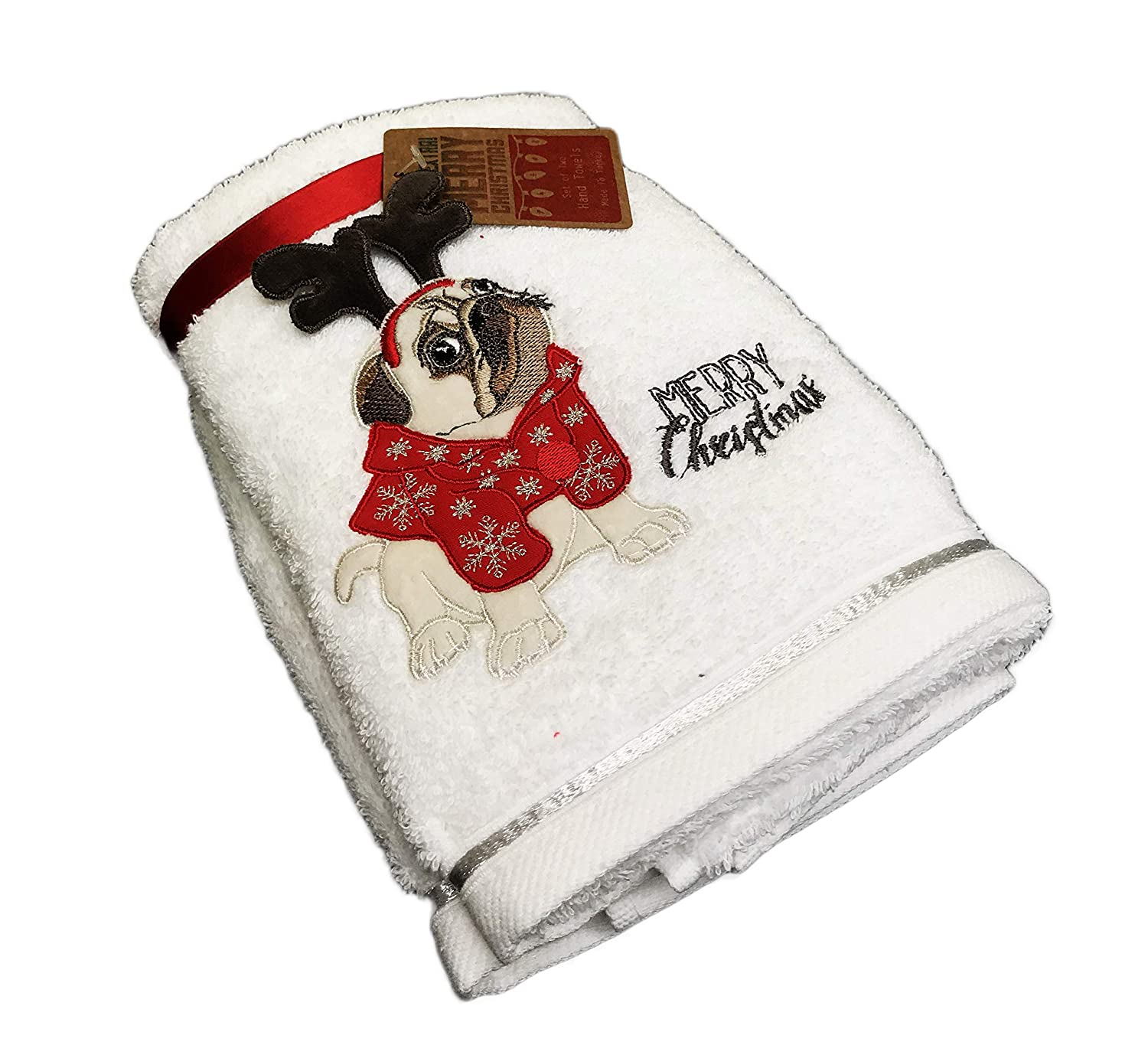 Embroidered Christmas Pug Dog in Winter Attire with Embellished Reindeer Antlers Set of Two Festive Holiday Bathroom Hand Towels