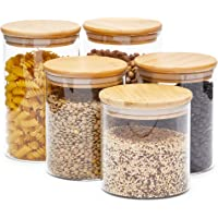 Glass Canisters with Airtight Bamboo Lids, 3 Sizes for Pantry Storage (5 Pack)