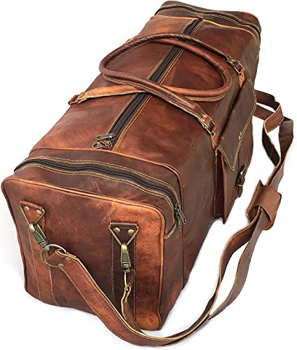 30 Inch Real Goat Vintage Leather Large Handmade Travel Luggage Bag