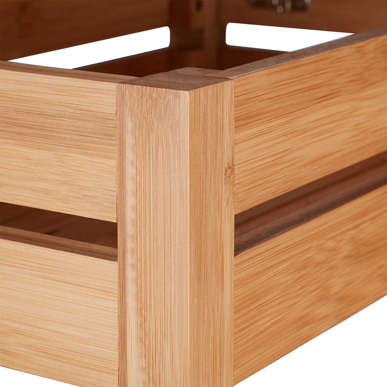 Naturale Scomparto con Anta Ribaltabile Legno bamb/ù Cucina Bianco 76.5 x 46 x 29.5 cm Relaxdays Scaffale Bagno 3 Ripiani HxLxP: 76,5x46x29,5 cm