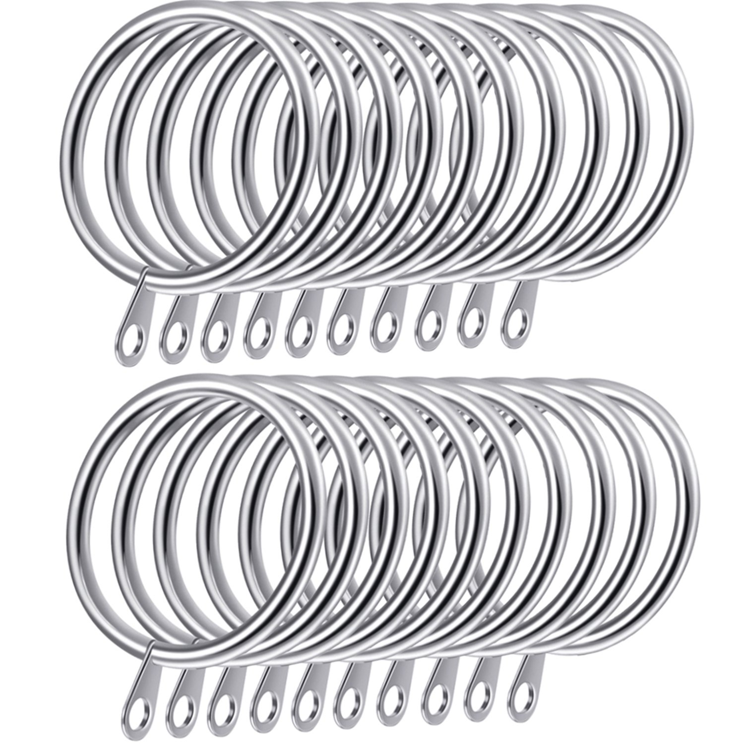 30 mm Internal Diameter Silver Shappy 20 Pack Metal Curtain Rings Hanging Rings for Curtains and Rods