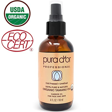 Pura D'or Organic Tamanu Oil (4oz) Usda Certified Organic 100% Pure & Natural Moisturizer And Anti Aging For Face & Skin by Pura D'or