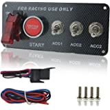 IZTOSS DC 12V Ignition Switch Panel 5 in 1 Car Engine Start Push Button LED Toggle For Racing Car