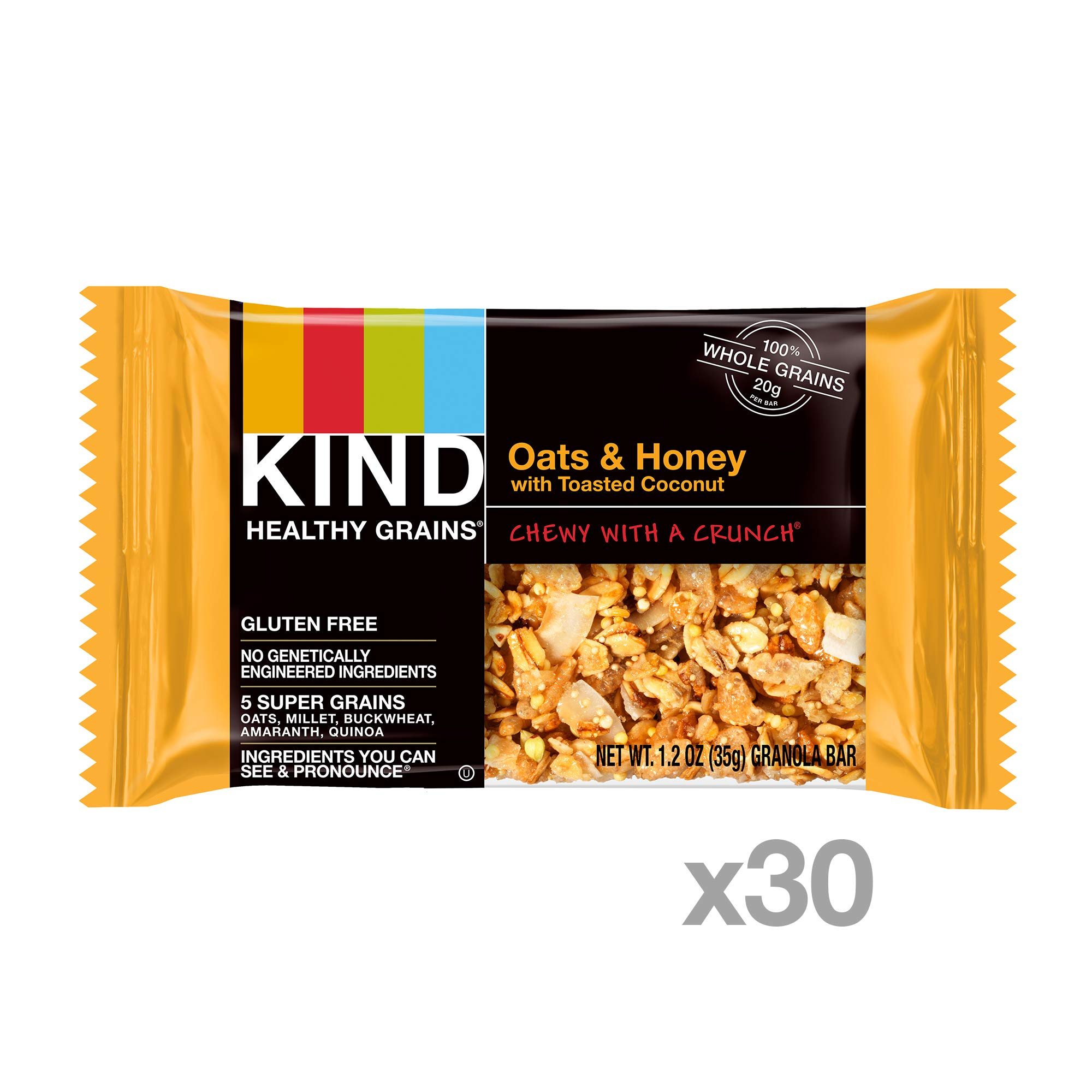 KIND Healthy Grains Granola Bars, Oats & Honey with Toasted Coconut, Gluten Free, 1.2 oz, 30 Count by KIND (Image #2)