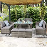 Vongrasig 7 Piece Small Outdoor Sectional Dining Set, All Weather PE Wicker Patio Furniture Conversation Set, Outdoor Sofa Co
