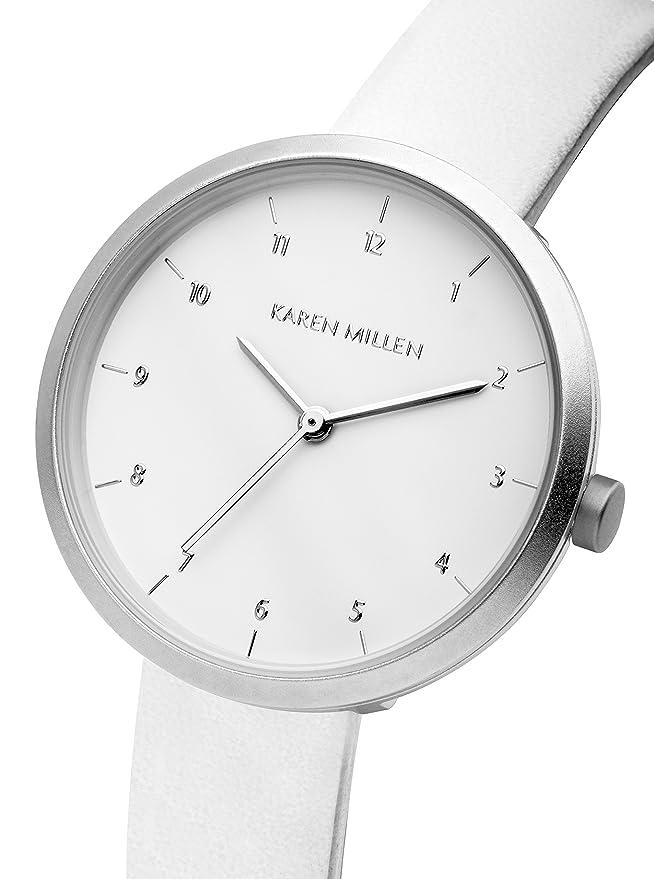 Amazon.com: Karen Millen KM135W Ladies White Leather Strap Watch: Watches