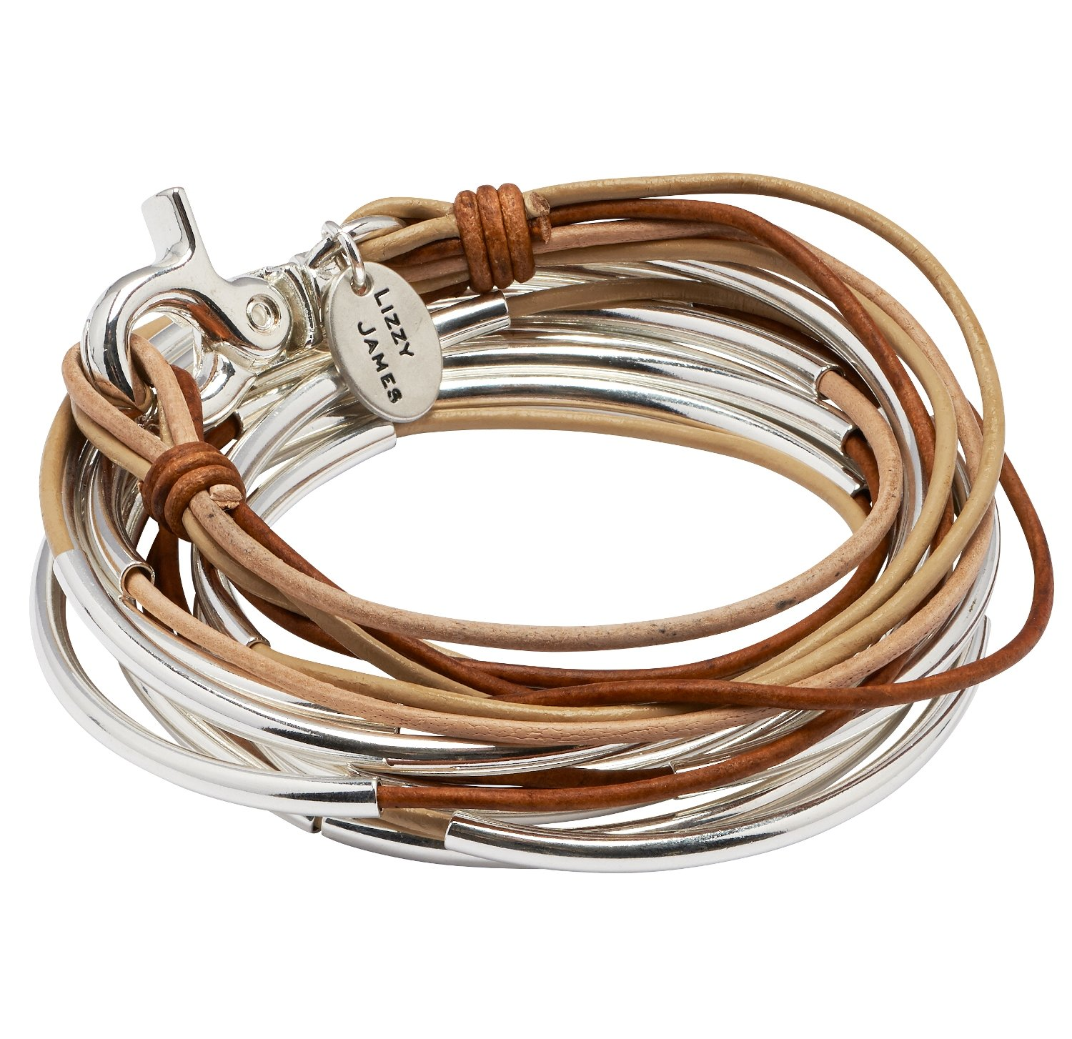 Lizzy Too Silverplated 5 Strand Tri Color Natural Light Brown Mixed Leather Wrap Bracelet (XLarge)