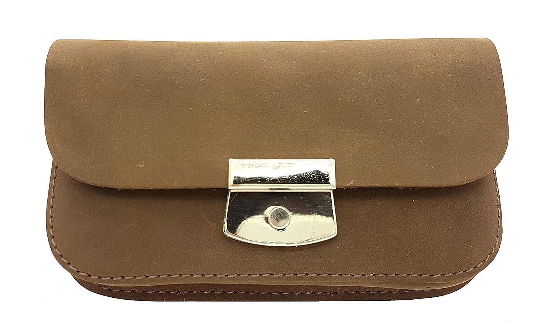 Made in Germany Leder Gürteltasche Bikertasche Hüfttasche Bauchtasche Smartphone geeignet, Doppelfach, Vintage Look + Taschen-Nagelfeile