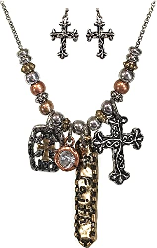 Gold Chain Religiously Inspired Faith Cross Hammered Plate Pearl Charm Necklace