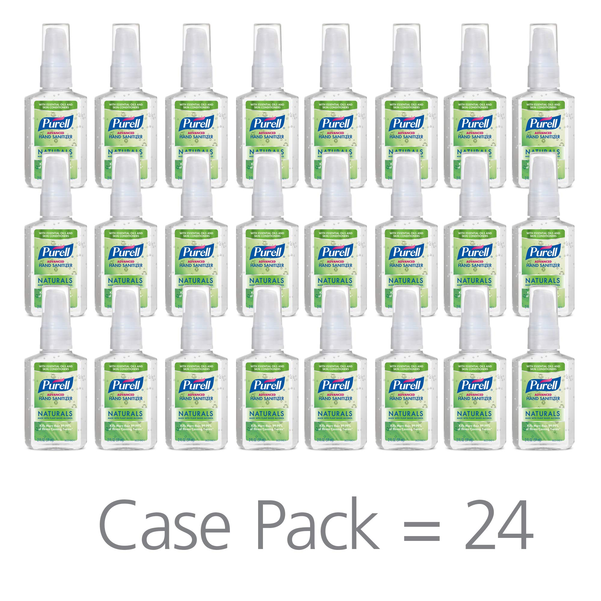 PURELL Advanced Hand Sanitizer Naturals with Plant Based Alcohol, Citrus scent, 2 fl oz Pump Bottle (Pack of 24) - 9623-24 by Purell
