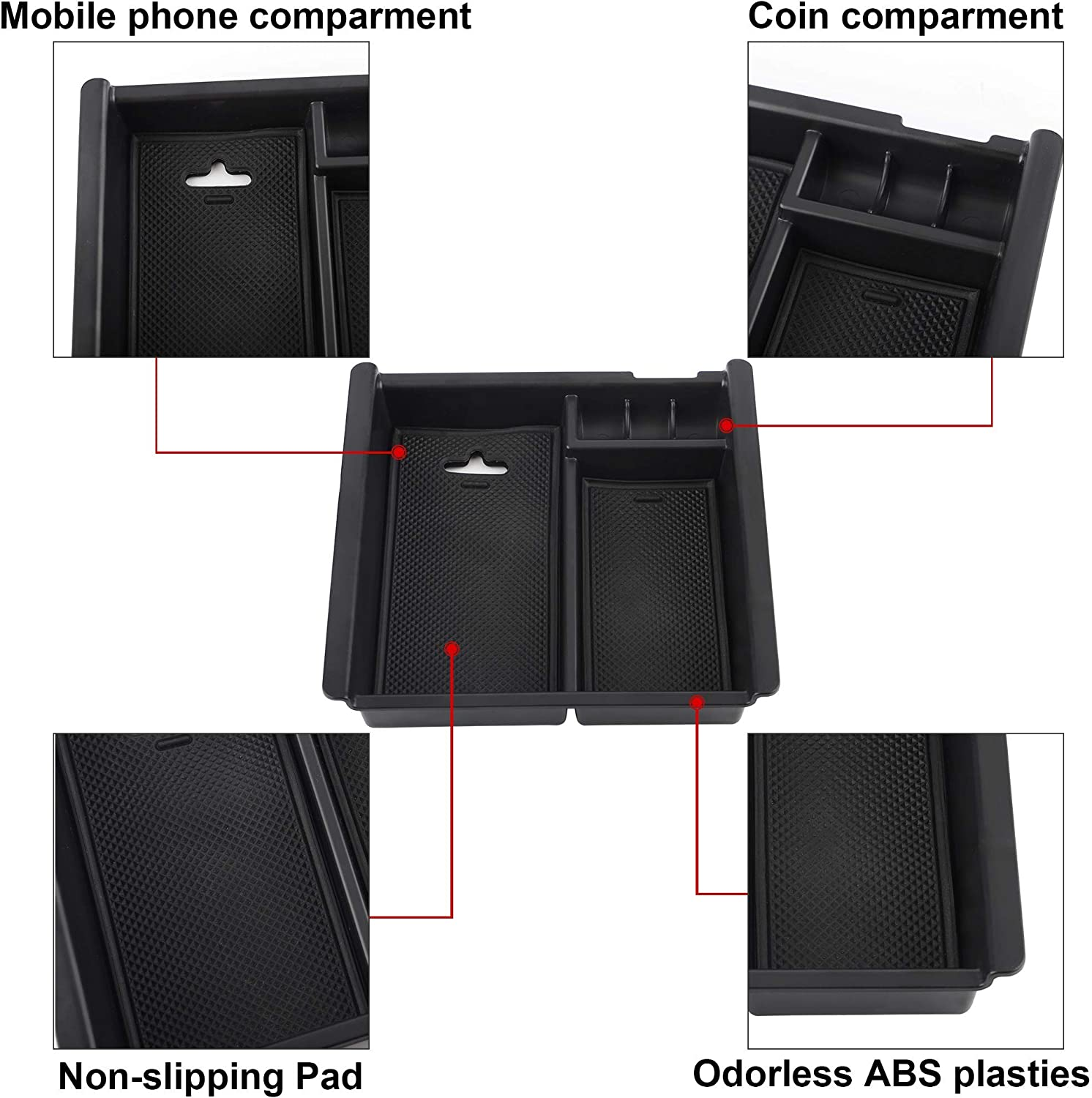 Richeer Black Center Console Accessory Organizer Compatible with 2016 2017 2018 2019 2020 Tacoma ABS Tray Armrest Box Secondary Storage