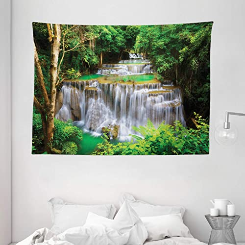 Ambesonne Waterfall Tapestry, View of Waterfall in Kanjanaburi Stream Crossing Forest, Wide Wall Hanging for Bedroom Living Room Dorm, 80 X 60 , Coffee White