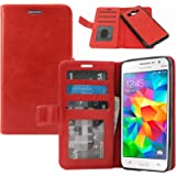 Dmg Premium Leather Magnetic Wallet Case With Detachable Back Case For Samsung Galaxy Grand Prime G530H (Red)