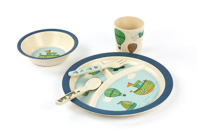 Kids Dinnerware Set of 5 Piece - Bamboo Kids Cups,Kids Plates,Bowl,Toddler Fork & Spoon, BPA Free, Dinosaur Plates for Baby Shower Gift (Little Dinosaur) DAYOOH