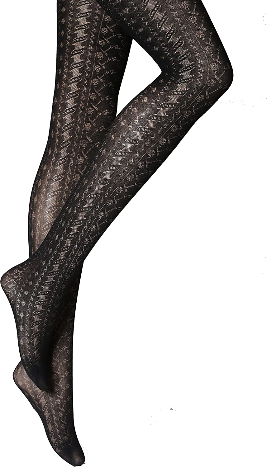 NEW WOMENS LADIES BLACK PATTERNED TIGHTS  PLUS SIZE XL 18-20  R5
