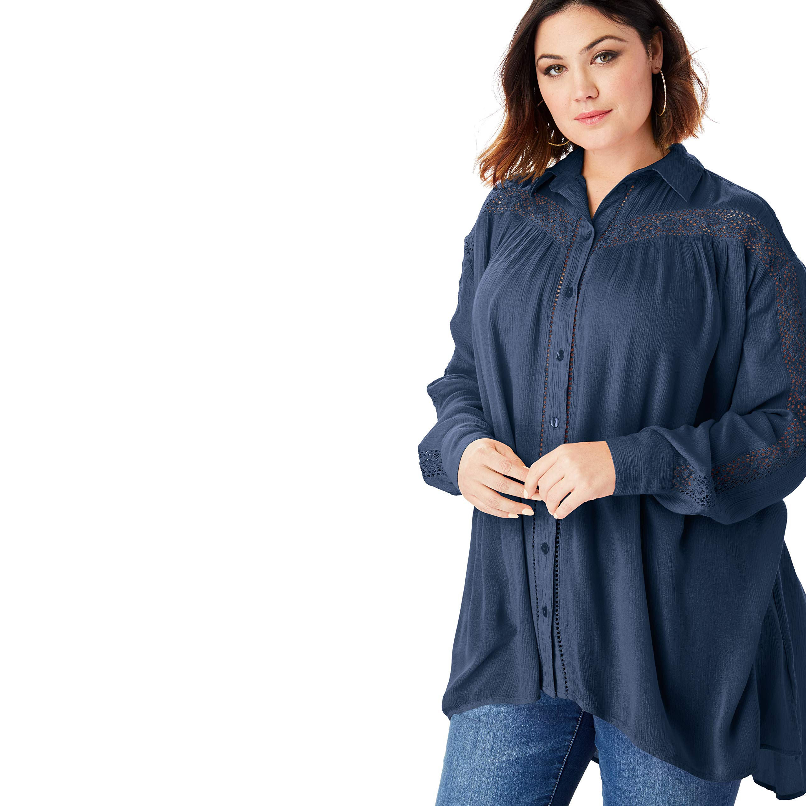 Roamans Women's Plus Size Crinkle Lace Tunic with Button-Front - Navy, 30 W by Roamans