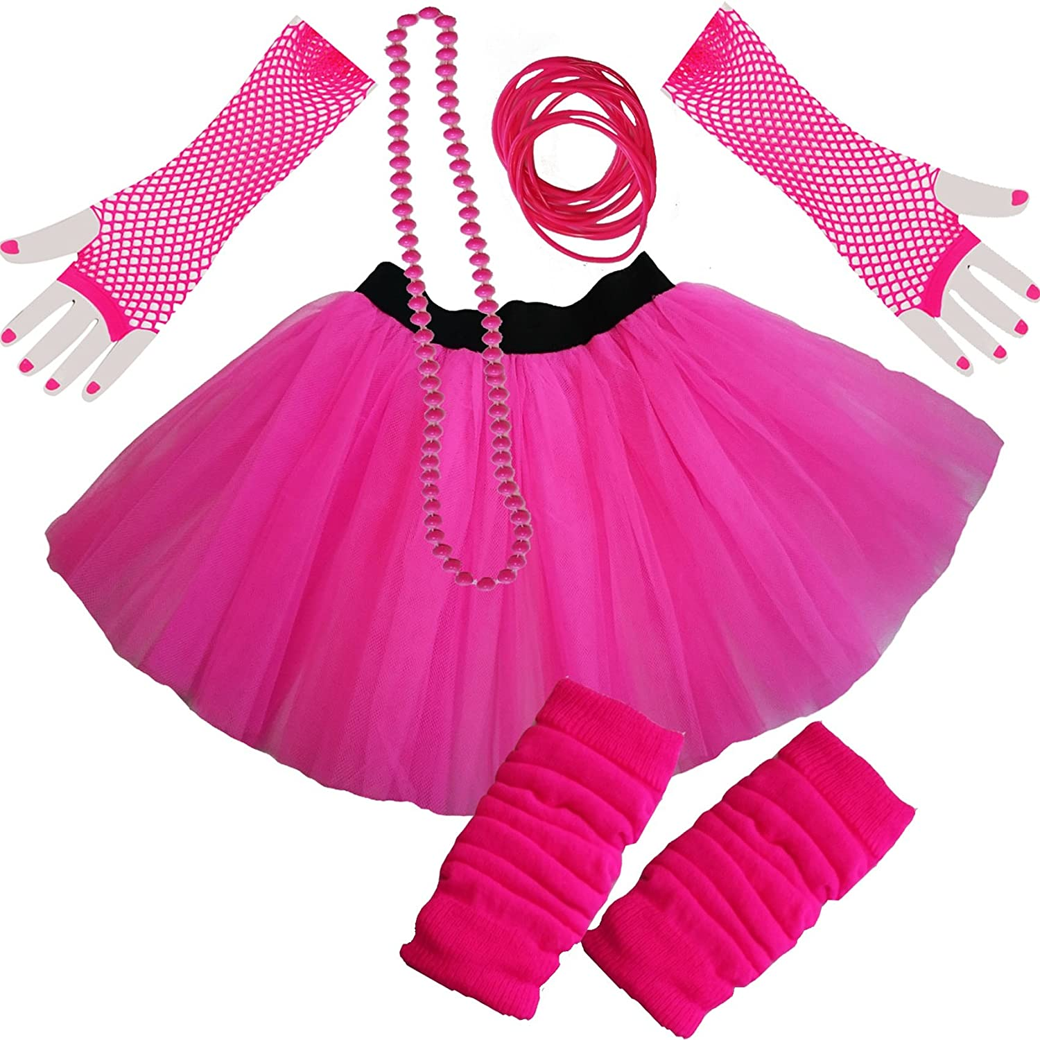 Ladies NEON TUTU SKIRT LEGWARMERS GLOVES 5 piece set (UK 8-14, PINK)