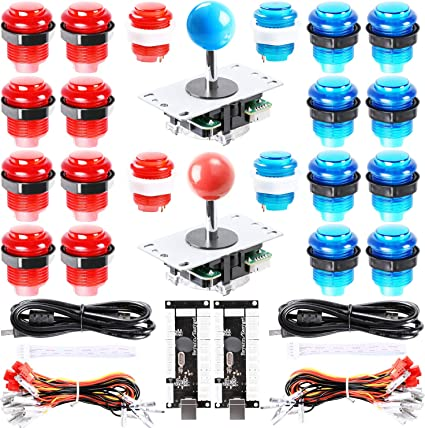 2 Players 2Pin Cable 24mm//30mm Push Buttons USB Encoder Board PC Oval Ball Top