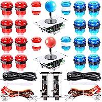 Easyget LED Arcade DIY Parts 2X Zero Delay USB Encoder + 2X 8 Way Joystick + 20x LED Illuminated Push Buttons for Mame…