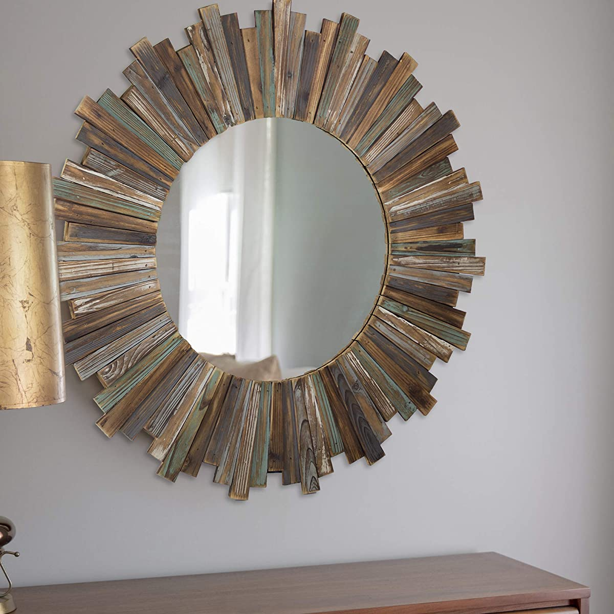 "American Art Decor Rustic & Distressed Wood 36"" Round Sunburst Wall Vanity Accent Mirror"