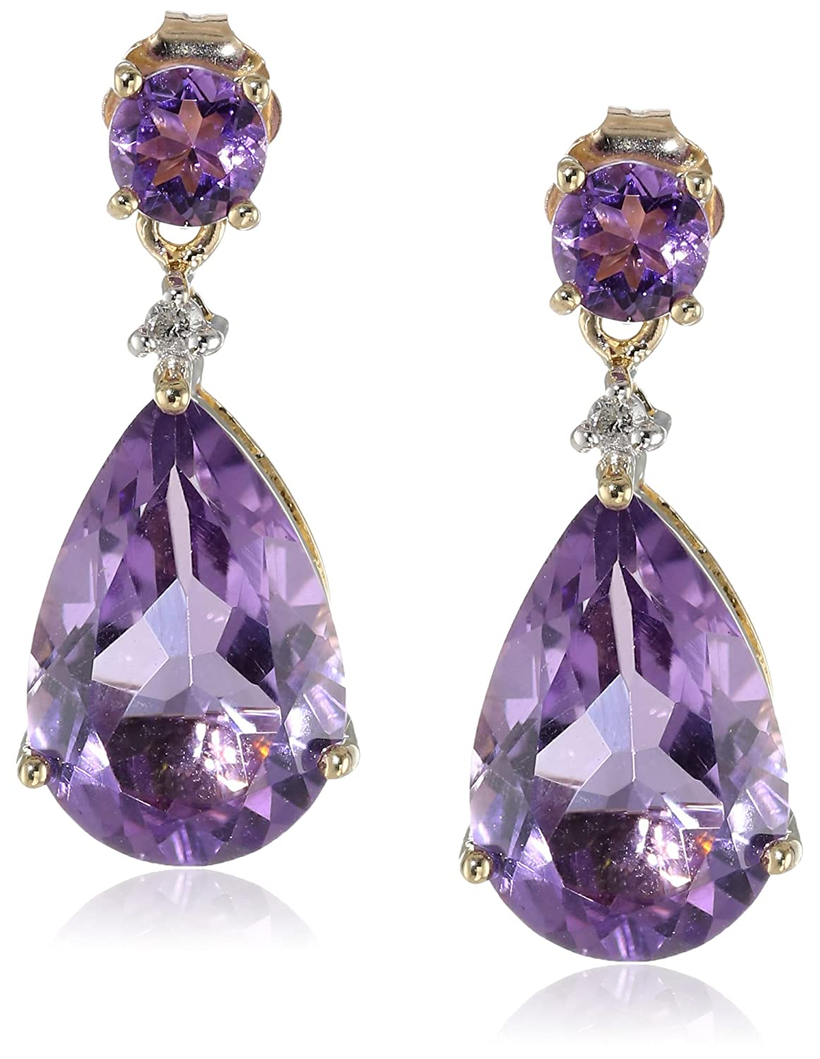 Amazon.com: 10k Yellow Gold Amethyst and Diamond Drop Earrings (.02 cttw,  I-J Color, 12-13 Clarity): Jewelry