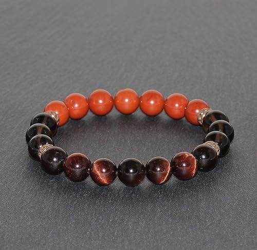 Healing for Men /& Women Gemstones Beads Gift for Men And Women Real Stone Bracelet Orange Jasper Unisex Adjustable Bracelet Meditation
