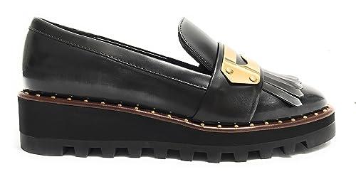 Liu.Jo Amos S67177P0258 scarpe donna mocassino zeppa nero con frangia e  borchie oro 28a5e8f8769