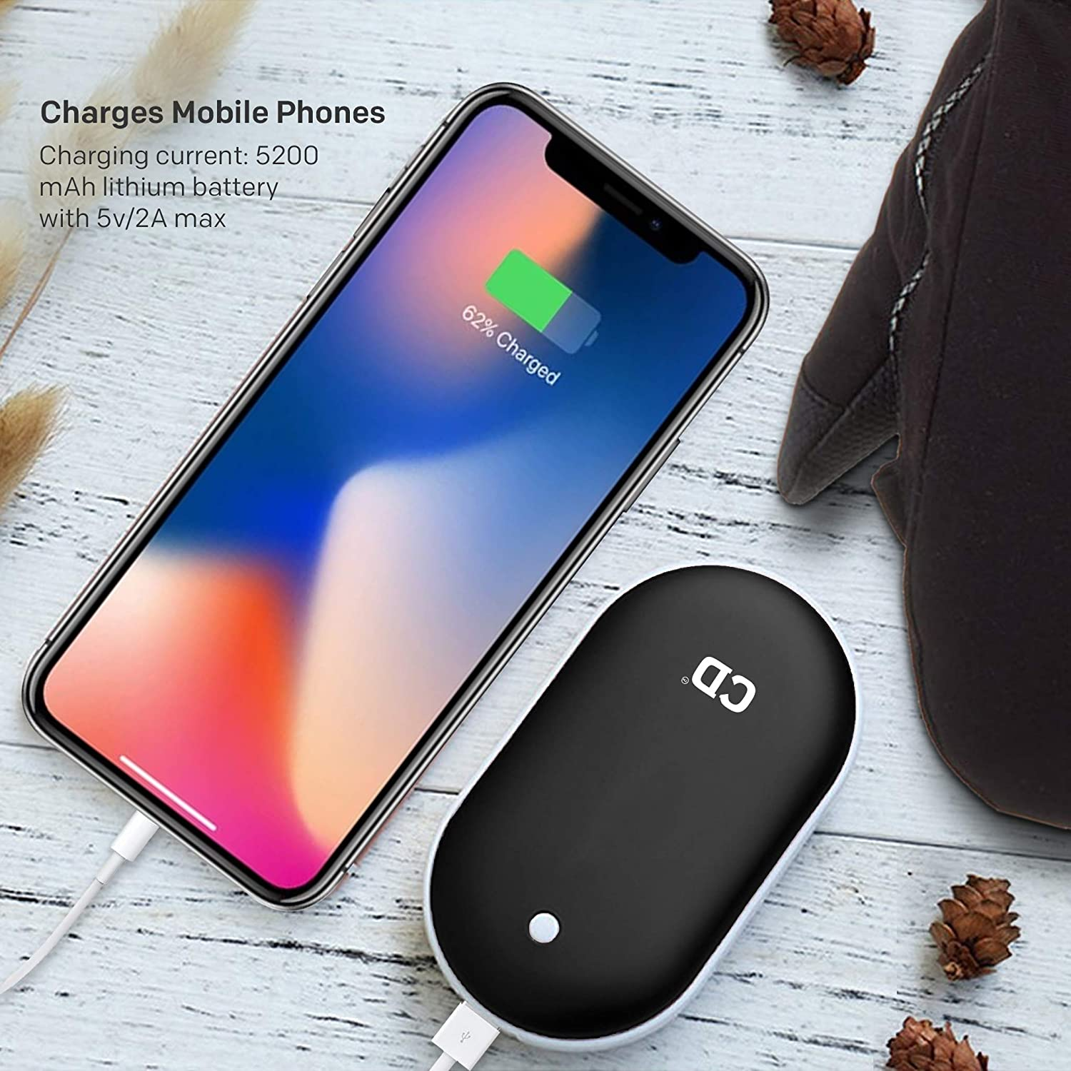 Black Electric Hand Warmer Double-sided Heating Portable USB Mobile External Battery Charger Best Gift in Winter for Women Comfy Degree Rechargeable Hand Warmers 5200mAh Power Bank Man