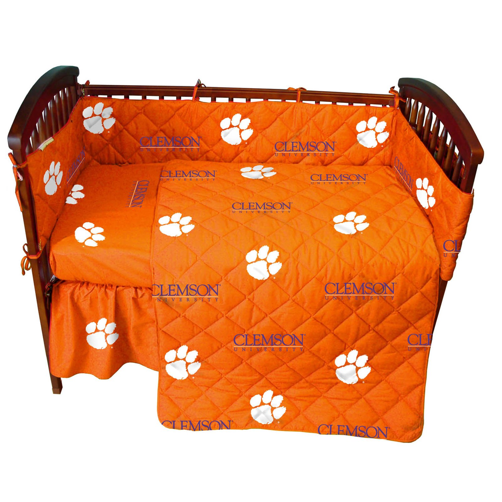 Clemson Tigers 5 Piece Crib Set - Entire Set includes: (1) Reversible Comforter, (1) Bed Skirt , (2) Fitted Sheets and (1) Bumper Pad - Decorate Your Nursery and Save Big By Bundling!