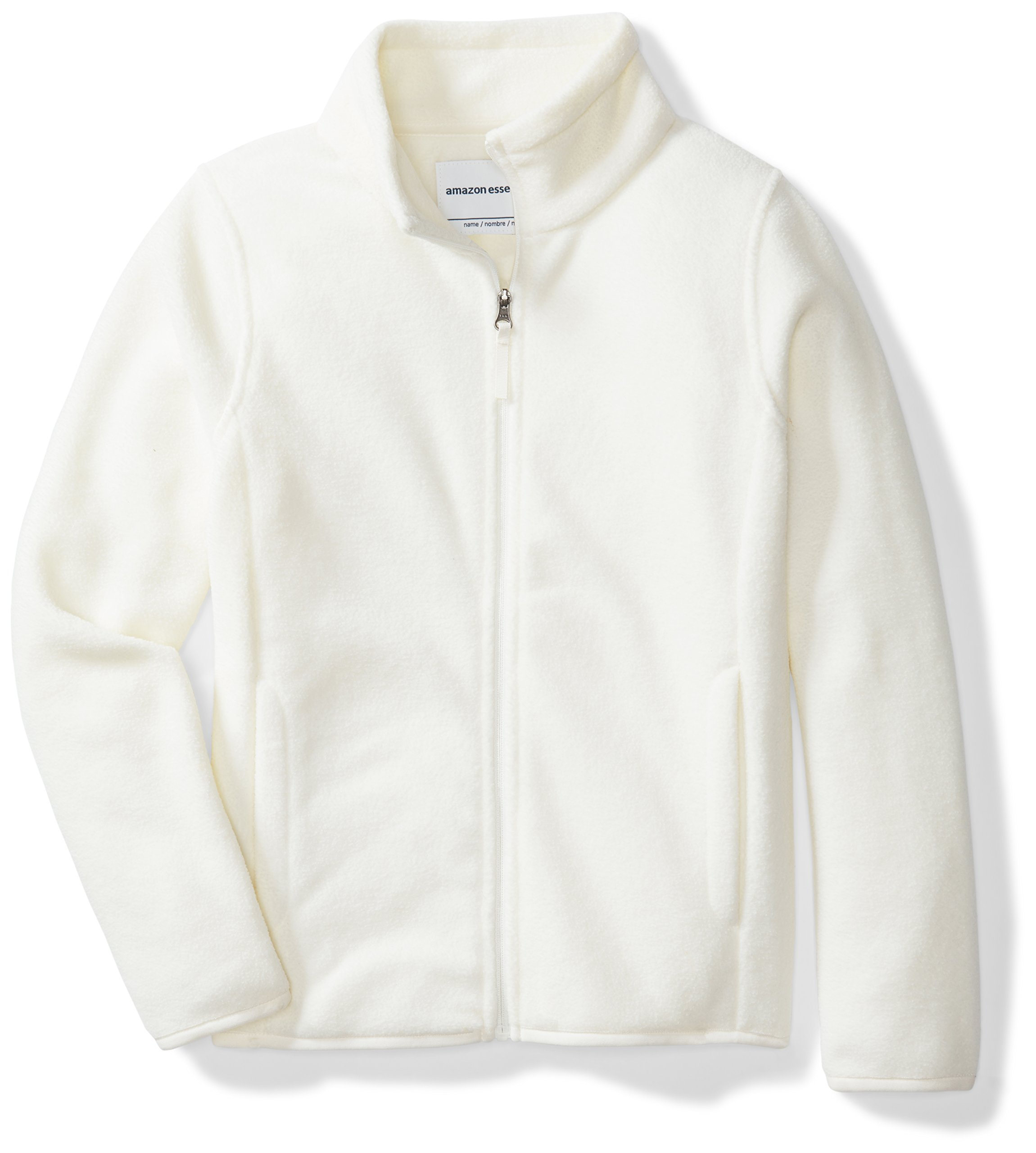 Amazon Essentials Girls' Full-Zip Polar Fleece Jacket, Ivory Snow, X-Small
