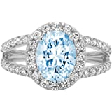 2.24 ct Oval Cut Solitaire Accent Halo split shank Genuine Flawless Natural Sky Blue Topaz Gemstone Engagement Promise Statem