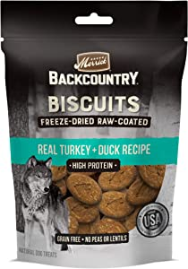Merrick Backcountry Biscuits Real Turkey + Duck Recipe Grain Free Freeze-Dried Raw Coated Dog Treats, 10-oz Bag