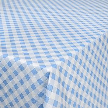 Karo Blau Wachstuch Wachstischdecke Tischdecke abwaschbar