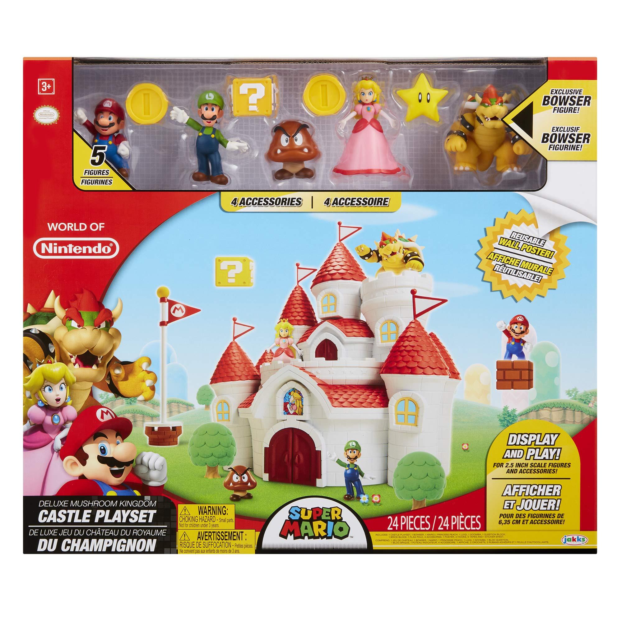 Nintendo Super Mario Deluxe Mushroom Kingdom Castle Playset with 5 Figures & 4 Accessories by Nintendo (Image #5)