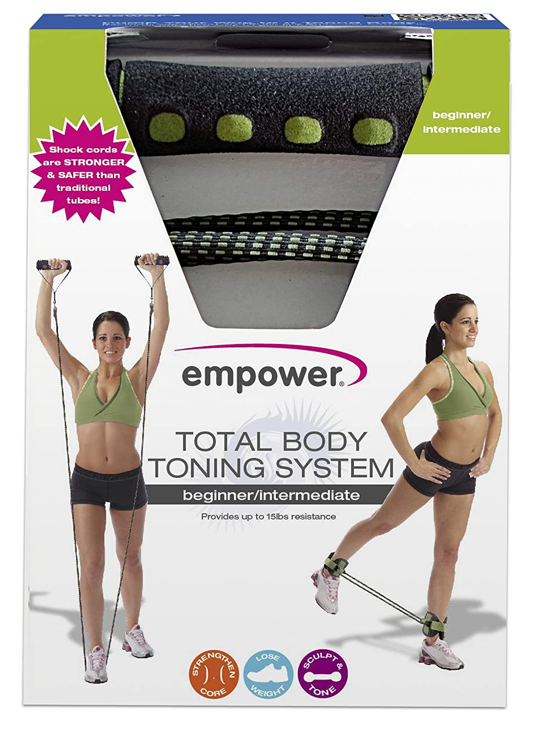 Amazon.com : Empower Deluxe Total Body Beginner/Intermediate Toning System, Black/Green : Exercise Bands : Sports & Outdoors