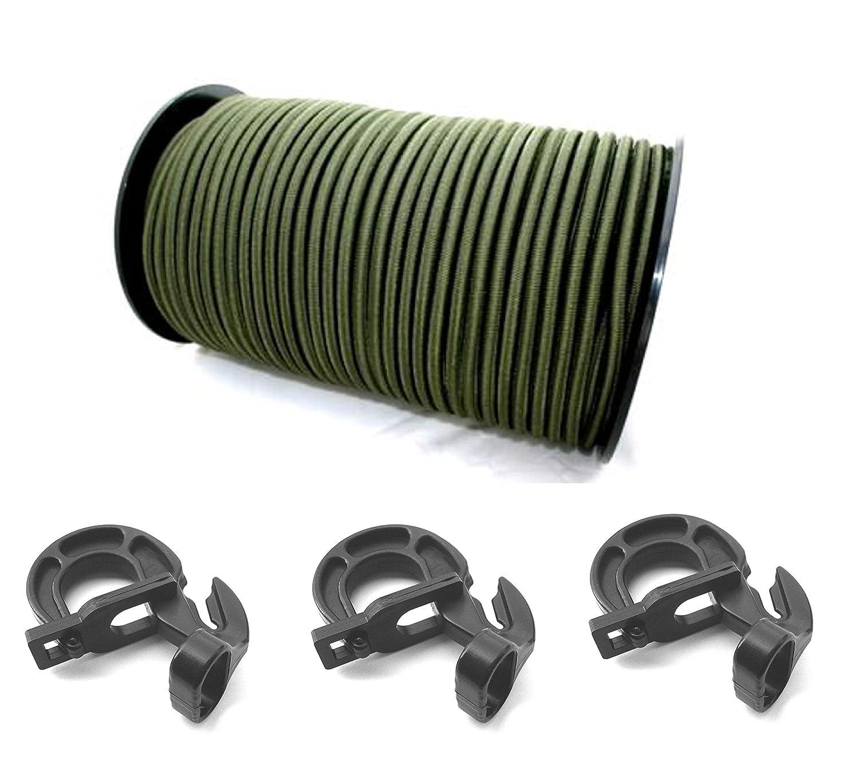 6 mm –  10 mm corda elastica in gomma corda in verde oliva verde + Easyfix corda gancio in gomma Guinzaglio teloni Plane StanleysSeilShop