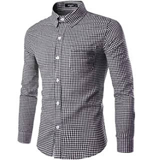 NUTEXROL Men Plaid Cotton Casual Slim Fit Long Sleeve Button Down Dress Shirts