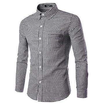 89e81397eae NUTEXROL Men Plaid Cotton Casual Slim Fit Long Sleeve Button Down Dress  Shirts Black XS …