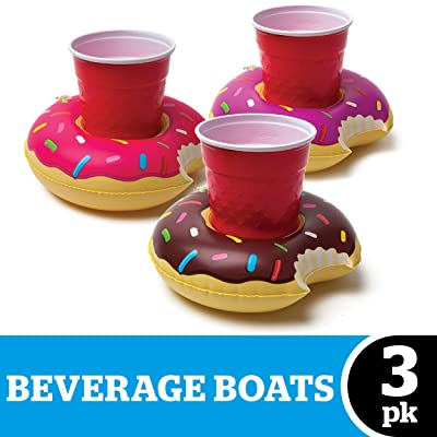 BigMouth Inc. Inflatable Donut Drink Holder Float, 3-pack, Chocolate, Strawberry and Berry Colored Floats, Great for Pool Parties and Special Events , MultiColor, One Size: Toys & Games