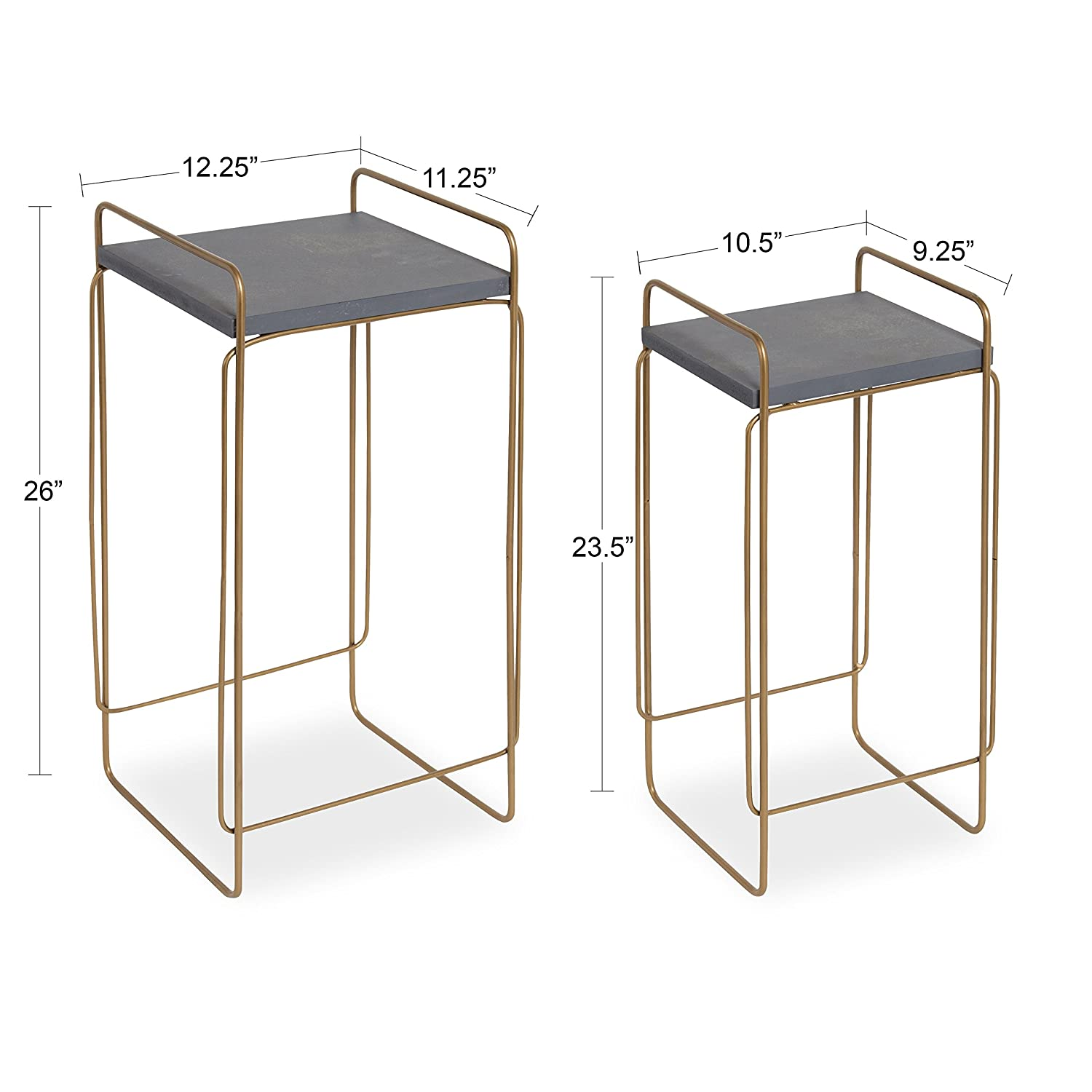 Kate and Laurel Strole 2-Set Modern Metal and Wood Nesting Tables, Concrete Gray top with Matte Gold Geometric Base