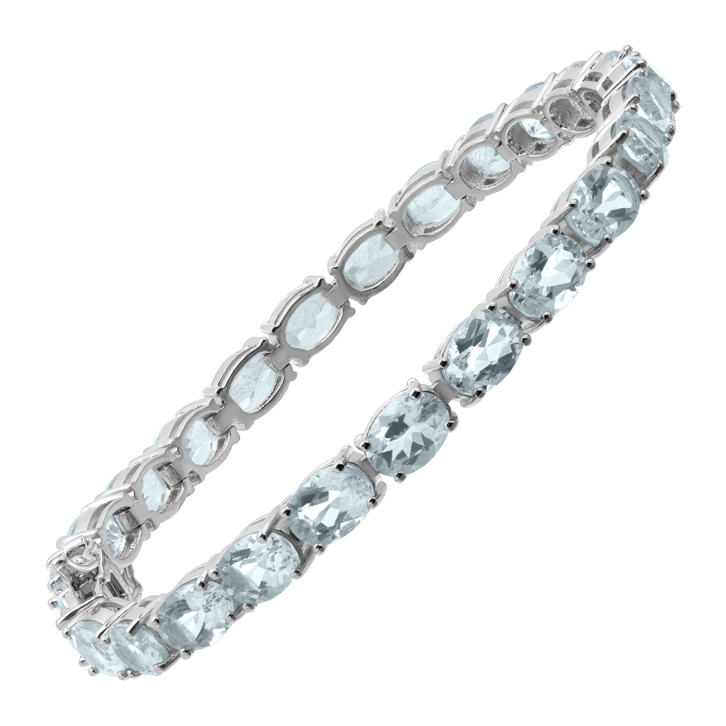 23 ct Natural Aquamarine Tennis Bracelet in Sterling Silver, 7.5''