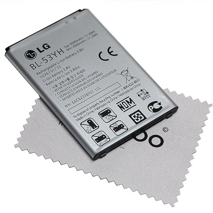 Bateria para LG original BL-53YH EAC62378701 LiIon para LG G3 + Gratis mungoo® Pantalla paño de limpieza