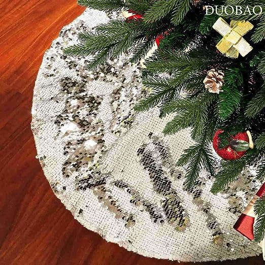 Matte Gold ShinyBeauty 21Inch-Matte Gold-Sequin Christmas Tree Skirt 21in Diameter Sequin Tree Skirt for Christmas Decoration