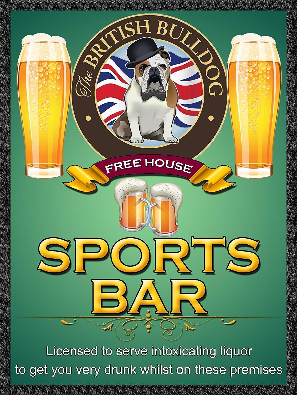 British Bulldog Sports Bar Affiche /Étain M/étal Mur Signe Vintage Plaque R/étro Attention D/écorative M/étallique Panneau pour Caf/é Bar Chambre H/ôtels Clubs Parc