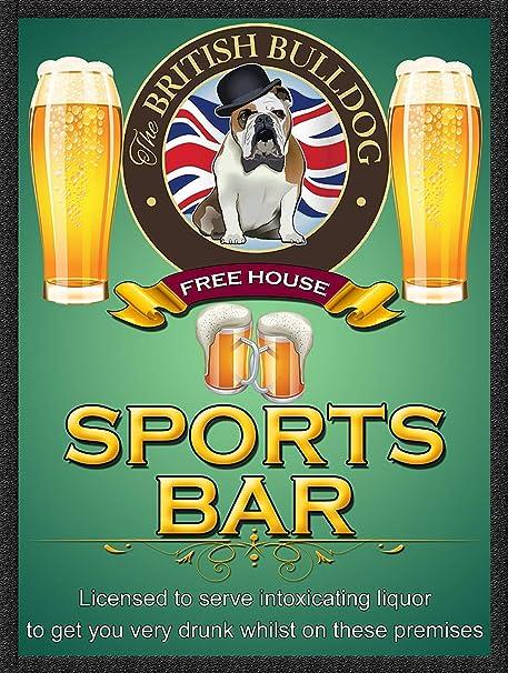 HiSign The British Bulldog Sports Bar Retro Cartel de Chapa ...