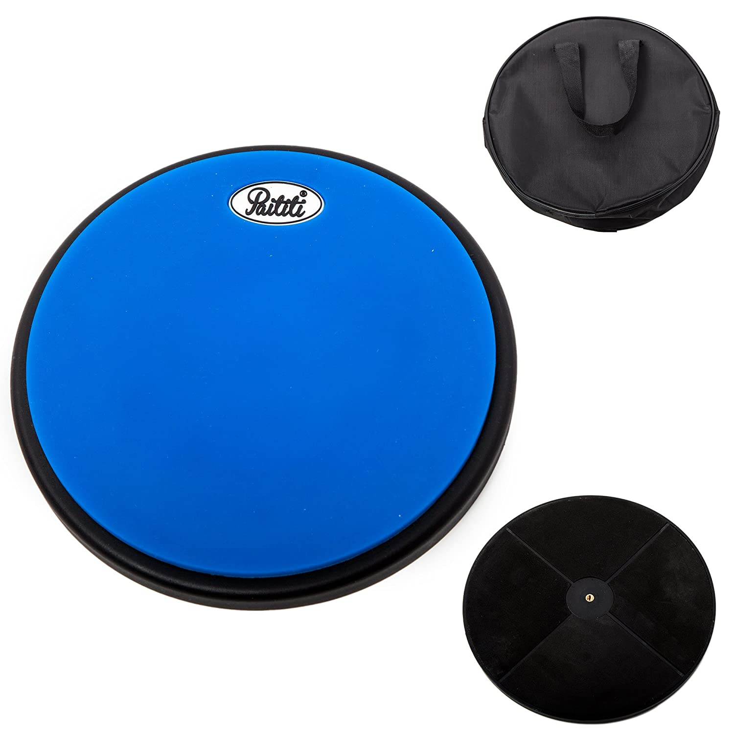 PAITITI 8 Inch Silent Portable Practice Drum Pad Round Shape with Carrying Bag Blue Color Sky Music PTTDMPD201-BL