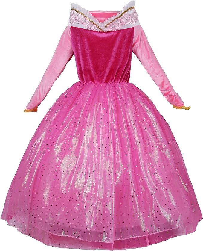 JerrisApparel Rosa Vestido de Princesa Disfraz Niña Vestido de ...