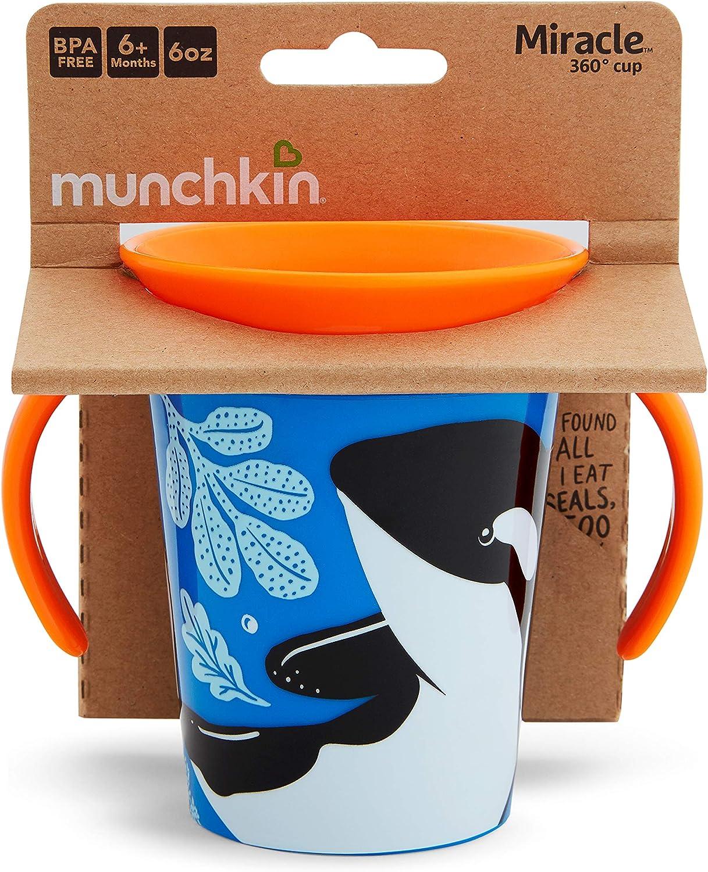 Orca Munchkin Miracle 360/° Wildlove Vaso Antiderrames Entrenamiento con Asas Pack de 1// 177 ml